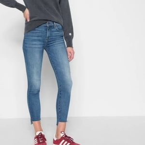 7FAMK High Waist Ankle Skinny with Step Hem